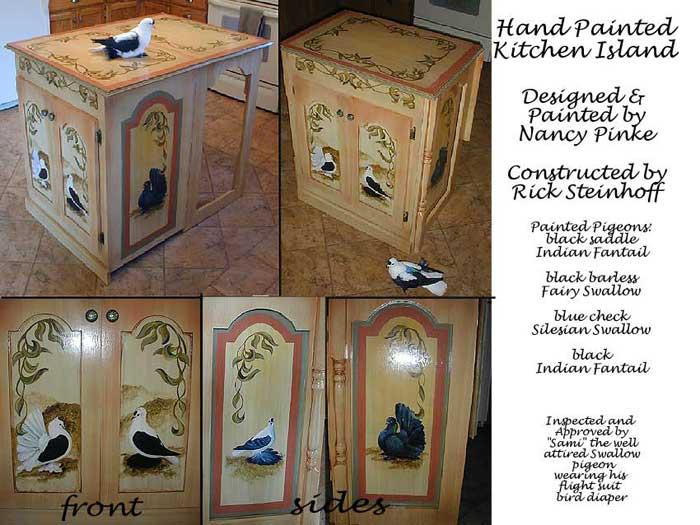 custom designed kitchen island - Hand Painted Kitchen Cabinets